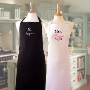 Mr and Mrs Right Black White Apron Set