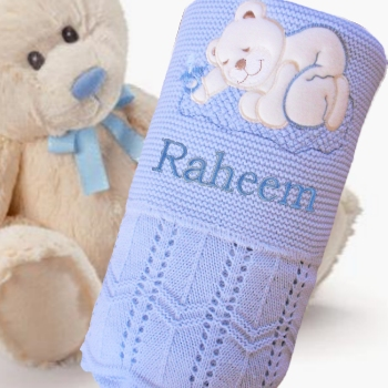 Blue Knitted Boys Embroidered Blanket