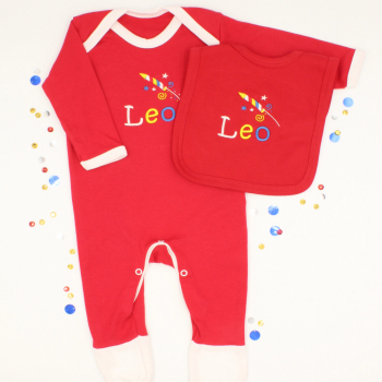 Personalised Red Baby Gift Set