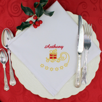 Personalised Present Embroidered Napkin