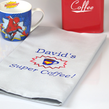 Blue Super Coffee Tea Towel