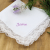 Personalised Cotton Handkerchief Lace Trim