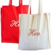 Embroidered Cotton Totes Red and Natural