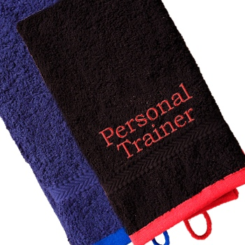 Personalised Gym Towel Black with Red Trim