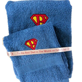 Embroidered Electric Blue Towel Set